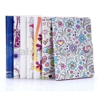 Colorized Flowers & Butterfly Cross Pattern Magnetic Flip Stand TPU+PU Leather Case for iPad Air 2 (iPad 6)