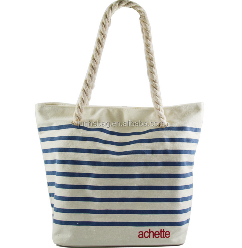 Simple navy stripe cotton canvas beach tote bag with magnet clasp