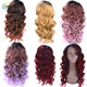 Kanekalon fiber natural hairline cheap heat resistant ombre color long curly synthetic hair lace front wig