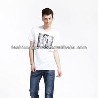 Fashion led men's white tshirt digital printed