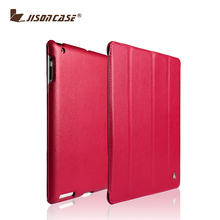 Jisoncase Rose red Stand High Quality Tablet Case For iPad 4
