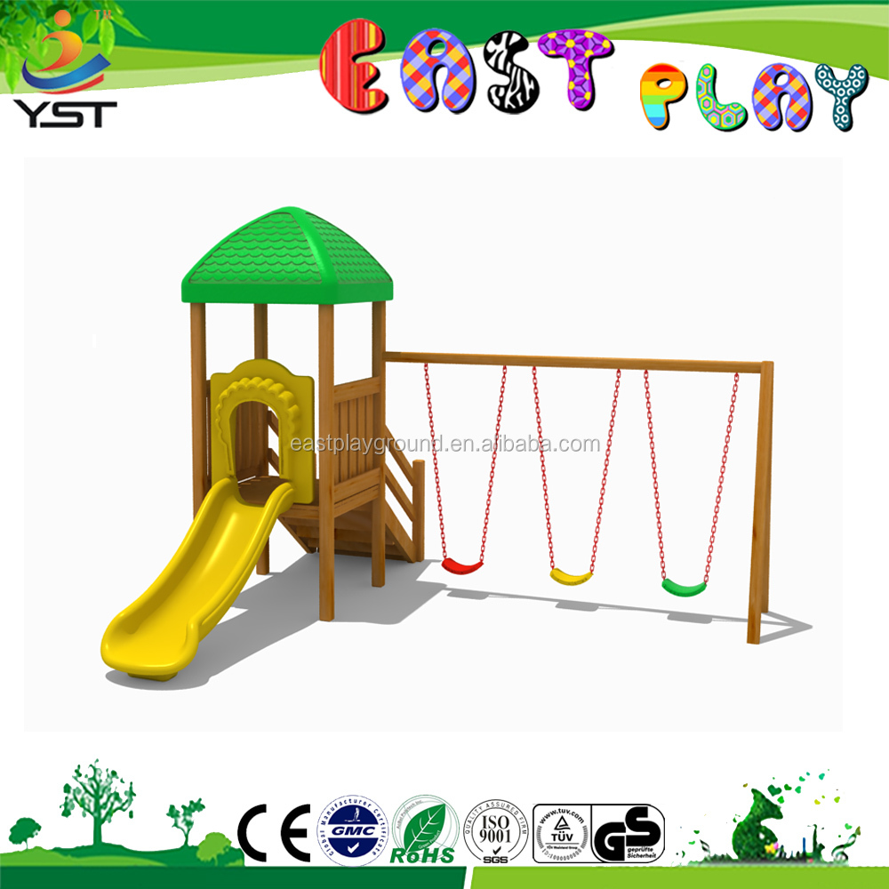 new design outdoor wooden kids playhouse playsets with swing fences