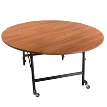 Dinner short folding table with wheels