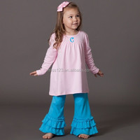 Little girls ruffle tunic top long sleeves Boutique Wholesale Children's Fancy top pant set Tunic Top with matching ruffle pant