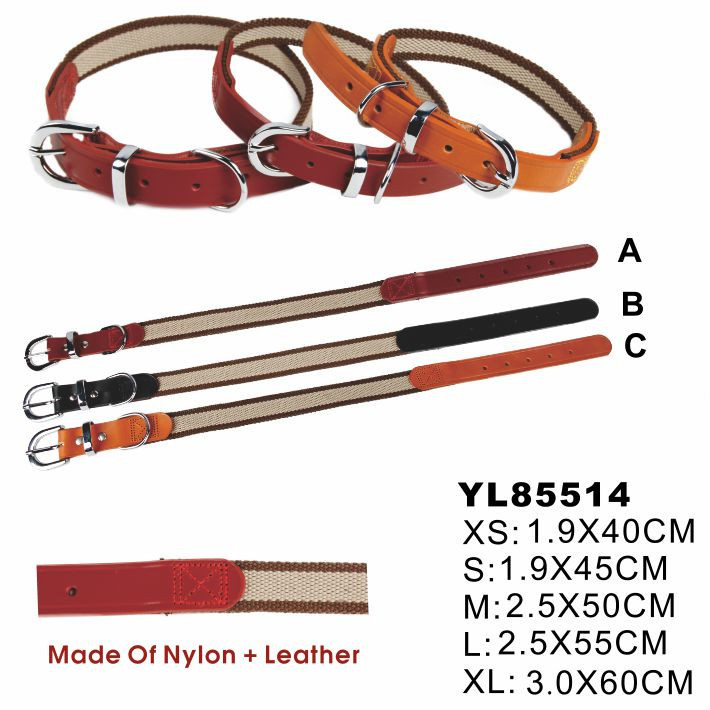 Nylon and Leather Pet Safety Collar