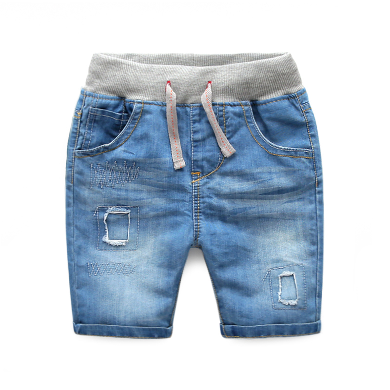 Kids ripped jeans 2015 new summer boys knee length mid waist jeans for children fashion denim shorts with holes