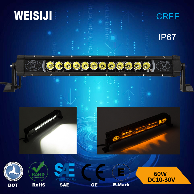 New Design White Blue Green Red Amber Color Background 60W 12volt Led Light Bar Offroad