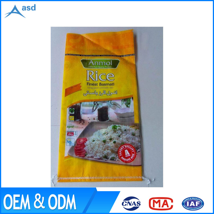 25kg 50kg pp woven rice flour wheat bags BOPP printing sack for sugar salt packaging
