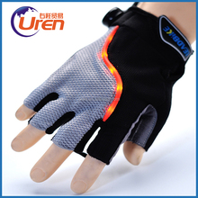 Unique smart turn signal anti-slip reflective night short open finger cycling LED light gloves