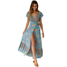 2019 Amazon Hot Sell Women Short Sleeve Printed Slit Long Dress V-Neck Beach Dress