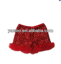 Factory Price Baby Red Sequin Shiny Shorts With Double Ruffles Baby Trousers For Baby Halloween Christmas Cloth Shorts