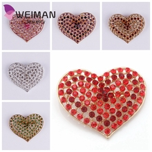 Free shipping high quality women handmade wholesale crystal heart brooch and pins