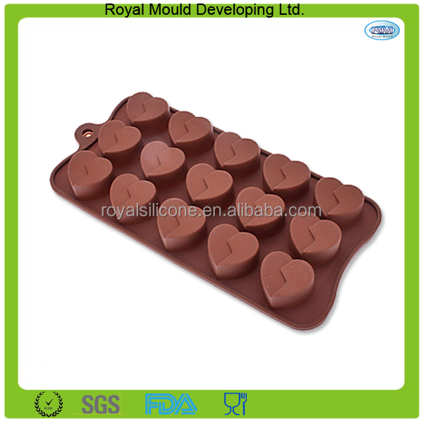 Heart shaped bpa free silicone molds for chocolate