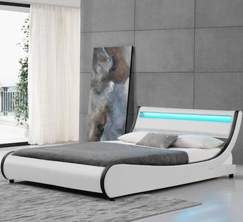 Hot Selling Top Quality King Size Modern White Leather Bed