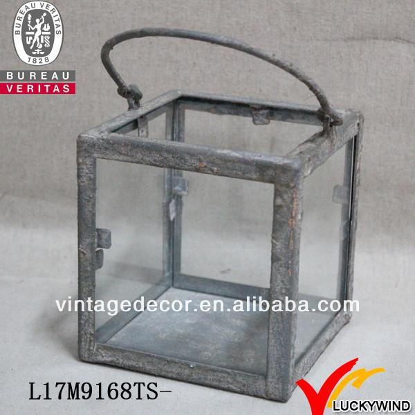 Square rustic metal glass vintage candle holde with handle