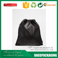 Top selling drawstring zipper leather shopping bag