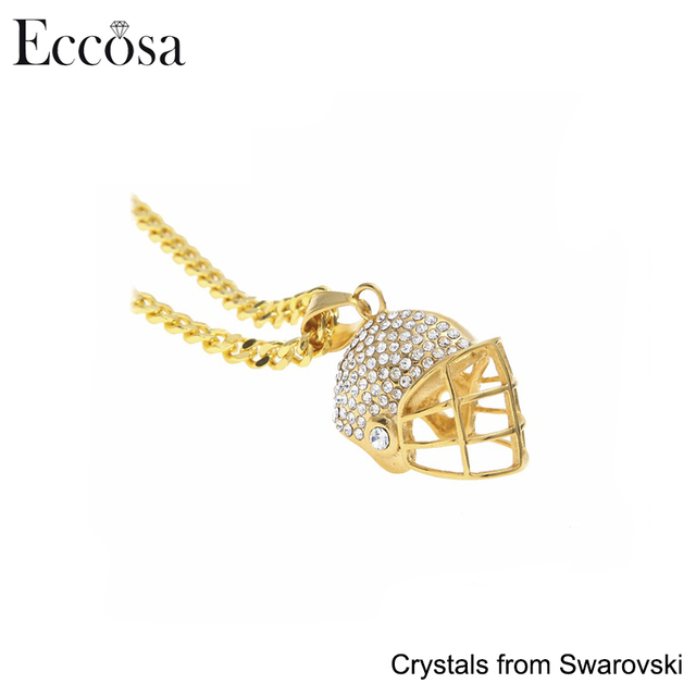 Unique Sports Jewelry Gold Color Hip hop Baseball Helmet Necklace with Crystal from Swarovski