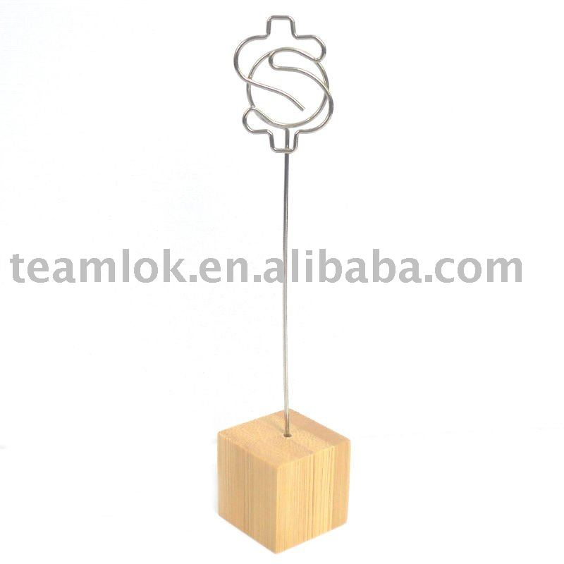 Dollar shaped bamboo clips holder