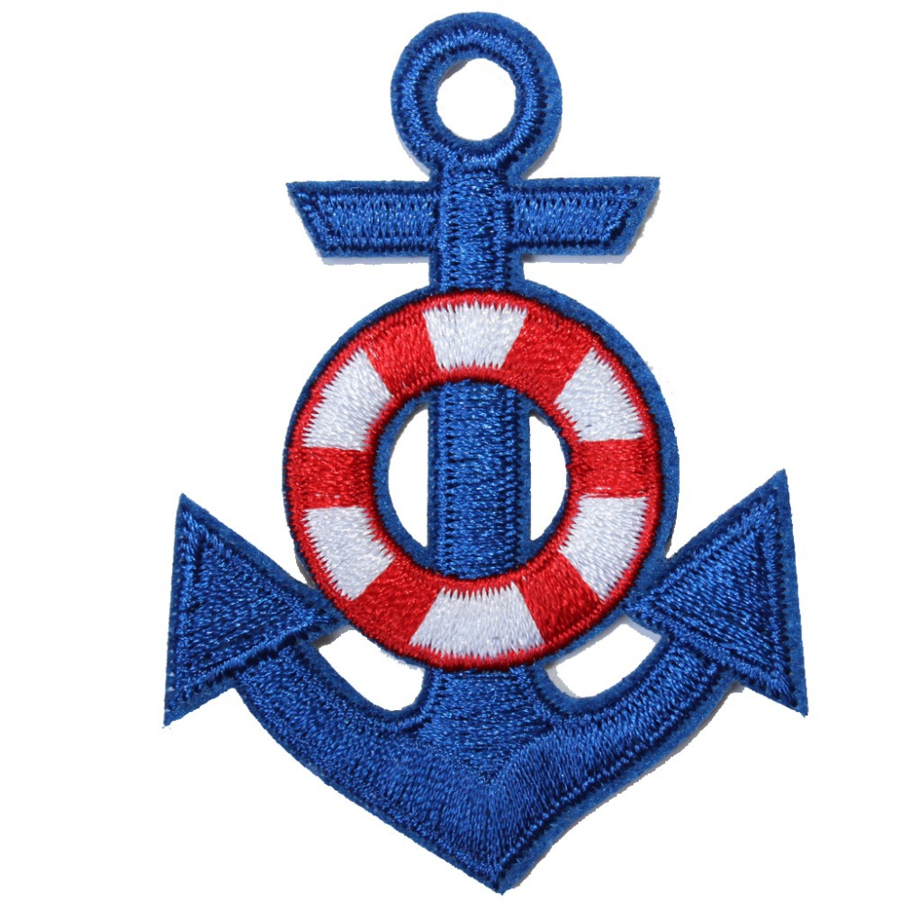 10 Embroidered Blue Boat Anchor Applique Patch EB3