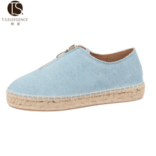 women's zipper espadrilles spain style Thick Jute Sole lady Denim blue flat shoes espadrille