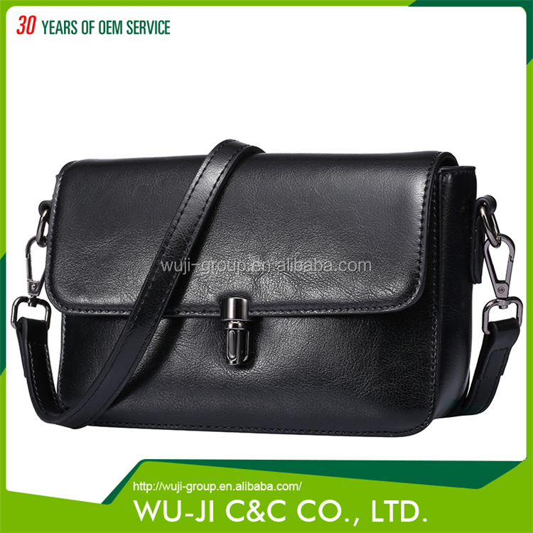 Professional Design Top Grain Lady Women's Small Flap Messenger Leather Bag