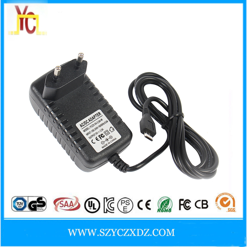 AC/DC wall-plug EU micro DC plug 5V 6V 7.5V 9V 2A 2.5A 3A power adapter supply hoverboard