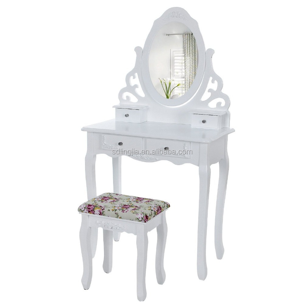 Double Sided PVC Royal Bedroom Metal Dressing Table With Stool