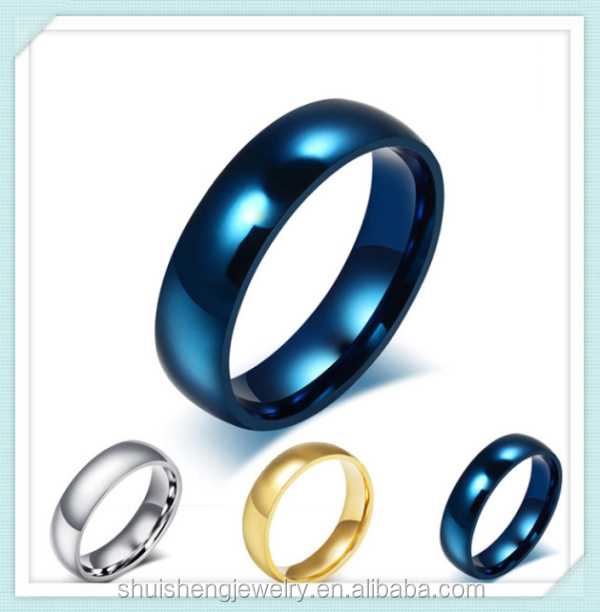 Classis simple design 6mm width wholesale blue/gold/silver wholesale custom stainless steel ring blanks