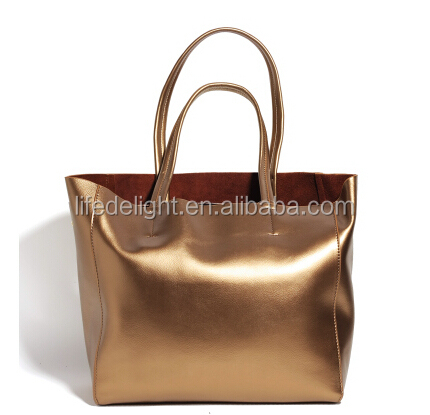 customized logo big capacity gold genuine leather women hand bags with removable inner pouch