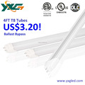 Aluminum 18W cool white t8 LED tube with 120 degree beam angle 120lm/w Type B Ballast Bypass 4ft indoor tube lights