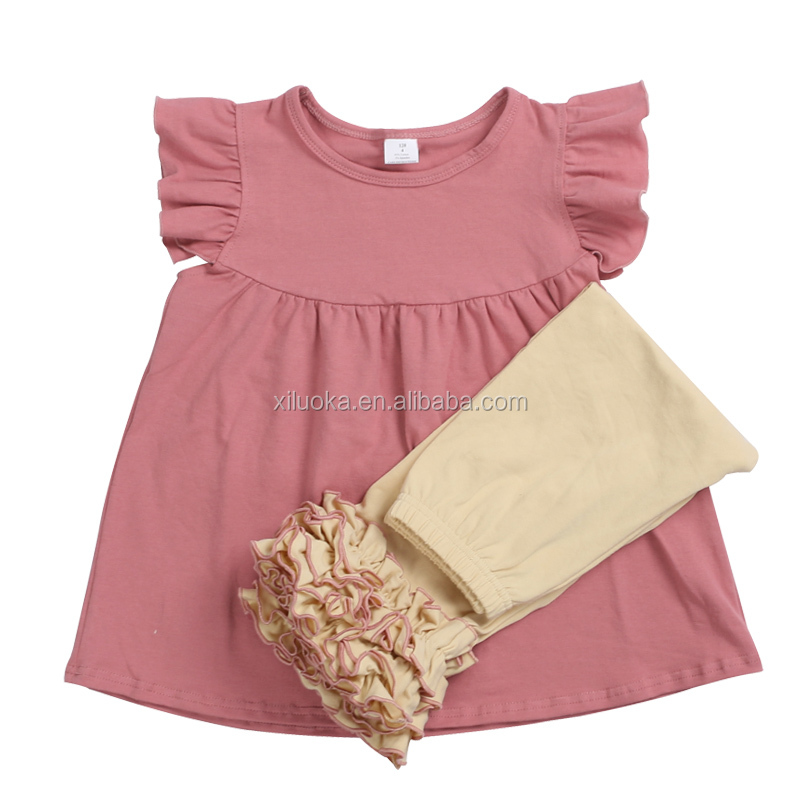 Bulk wholesale kids clothes western design children outfits baby girl ruffle boutique clothing