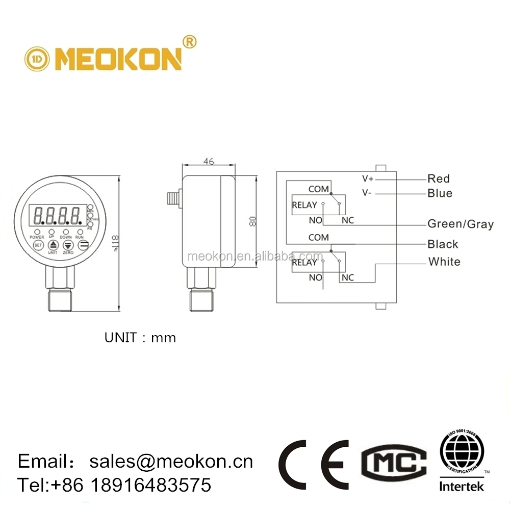 MD-S825E High precision Water, Oil, Gas Intelligent Digital Electric Contact Pressure Switch