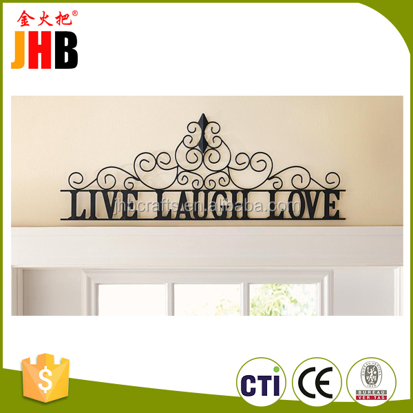 High Quality Scrolling Black Live Laugh Love Metal Wall Art