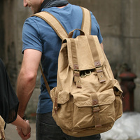 2350 Retro Custom Leather Trim Sports Rucksack Bag Canvas Backpack for Men