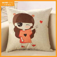 Latest design girls printed sofa car hotel decorative square throw nap pillow covers