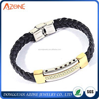 Wide Braided Leather Bracelet Bangle For