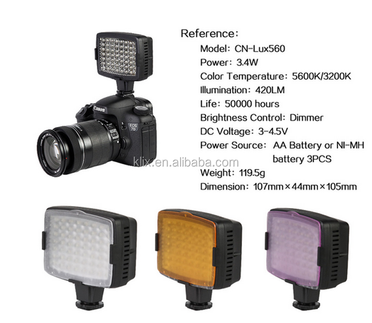 For Camera DV Camcorder Nanguang CN-LUX560 Video Light Camera Video Camcorder Photographic Light LED