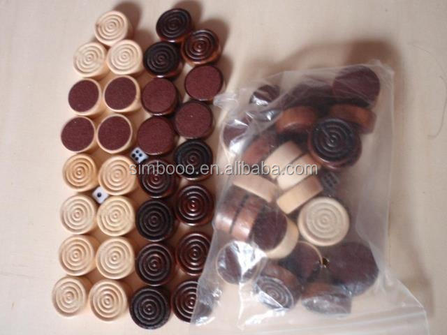 wooden chess checkers pieces / wooden backgammon checkers