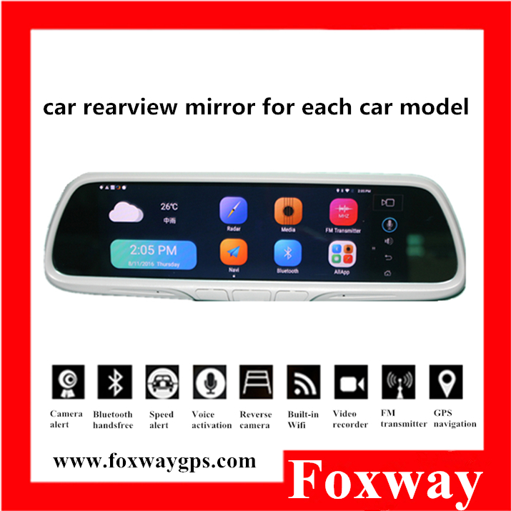 8inch rearview mirror car dvr gps with Intel quad-core CPU Android5.1 3G Wifi double camera DVR bluetooth radar blackbox ADAS