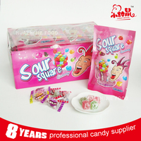 Natural fruit flavor sour gummy candy in cube shape