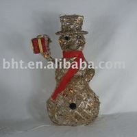 Rattan and wire spring Christmas snowman with lights
