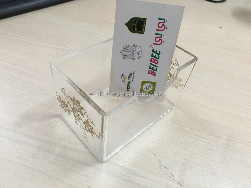 Desk dispaly stand acrylic plastic clear flower printing business name card box/holder