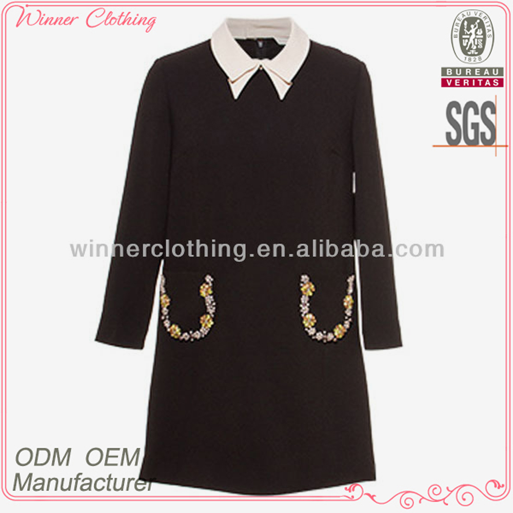 New design ladies' high fashion 3/4 sleeves straight style with pocket and beading at neck plain black long dress kurti