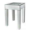 Contemporary Mirrored Bed Side Table with Crystal mirror on the top