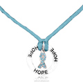Silver Tone with letter hope Sparkling Teal Austrian Crystal Ovarian Cancer Awareness Ribbon pendant Necklace
