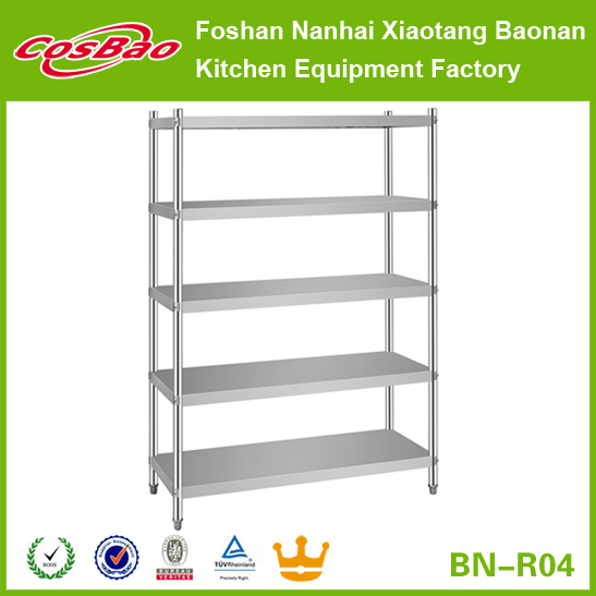 Heavy Duty Kitchen Stainless Steel Commercial Shelves / Kitchen Storage Shelf Rack Made in Foshan