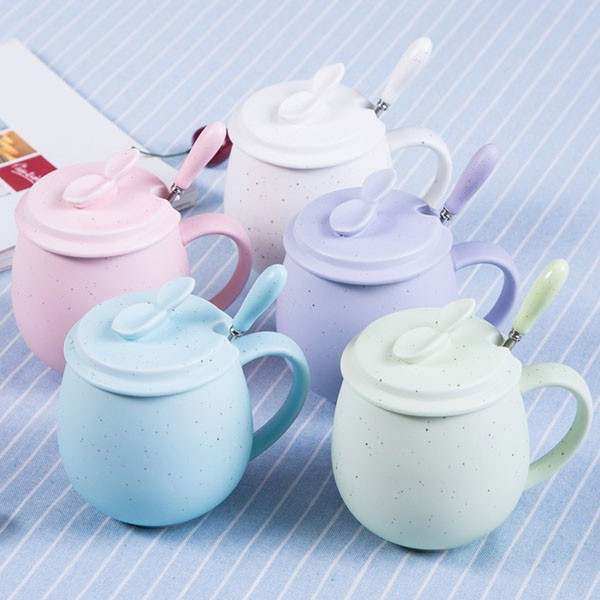 Wholesale 400ML Ceramic Coffee Cup Lids Spoon Solid Color Water Bottle Porcelain Mug Ceramic Cup