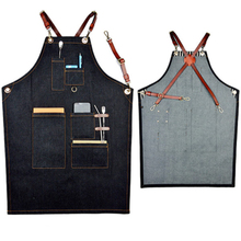 Handmade Leather Cotton Barber Apron Custom Logo Kitchen Apron