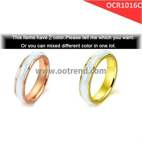 best sell women white ceramic rings,best seller rose golden stainless steel rings inlay white ceramic