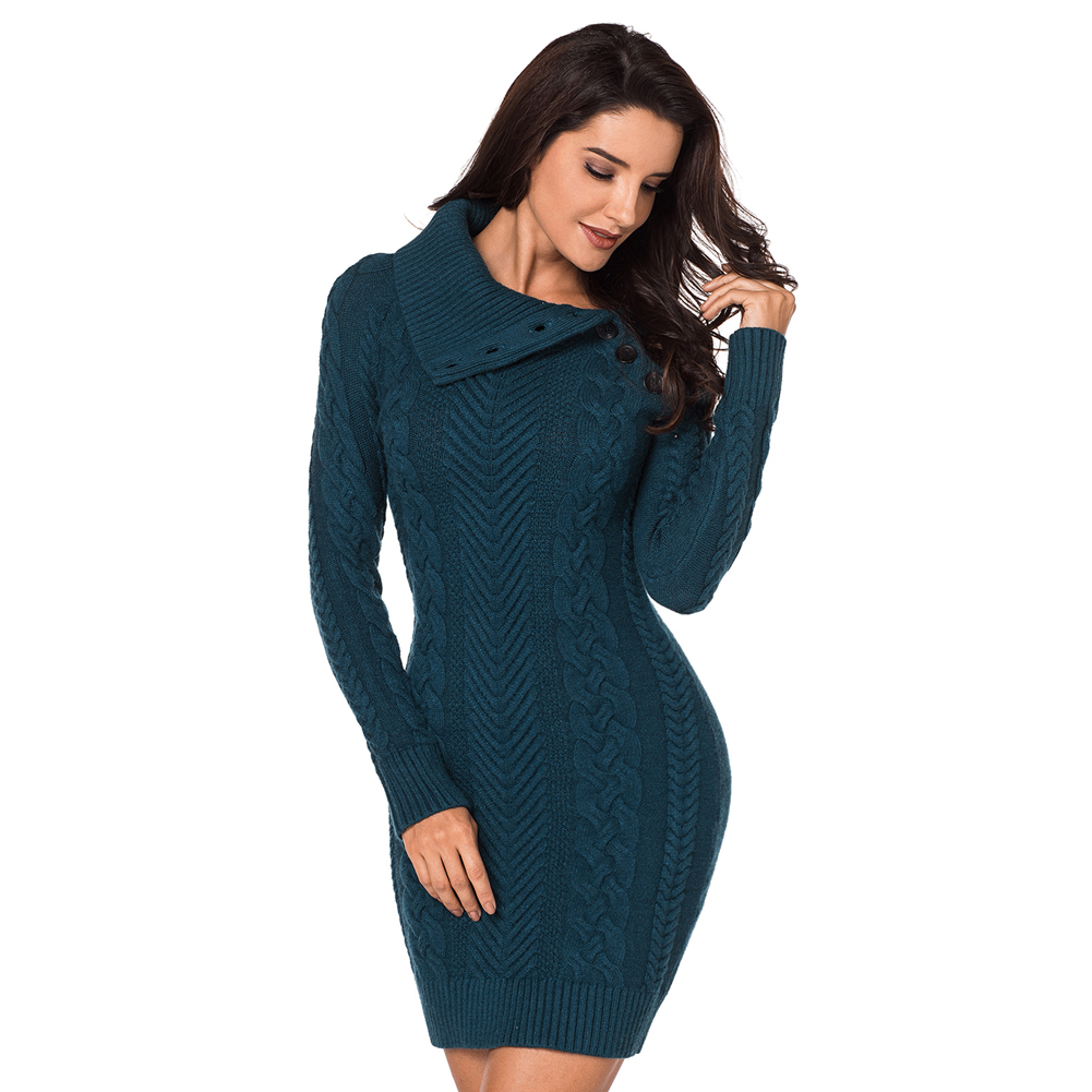Long Sleeve Buttoned Collar Burgundy Bodycon Sweater Dress